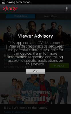 A viewer advisory message is displayed
