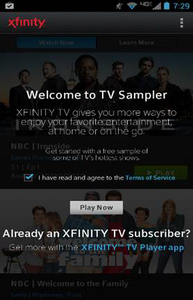 TV sampler welcome screen