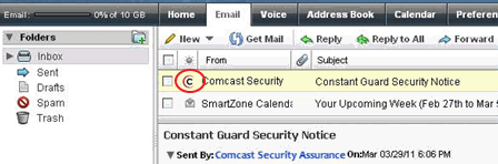 The XFINITY Connect Inbox - confirm that an email came from Constant Guard
