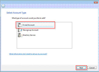 "Select account type page with ""email account"" selected"