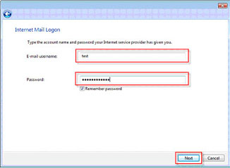 Internet mail logon page
