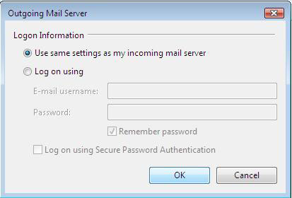 "Windows Mail - Outgoing Mail Server window - ""Use same settings as my incoming mail server"" selected"