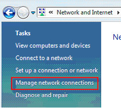 Prompt to click Manage network connections appears.