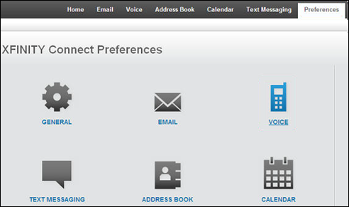 The XFINITY Connect Voice icon is an image of a telephone