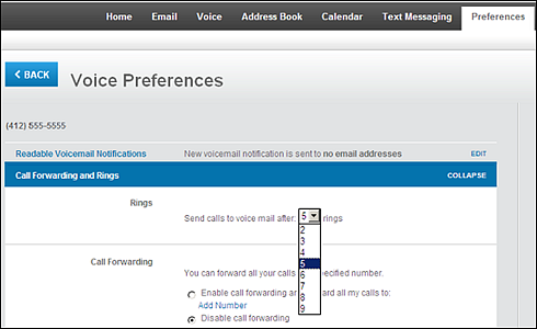 Send calls to voice mail after preferred number of rings drop-down menu.