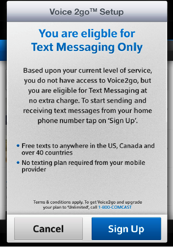 A message states that you are eligible for text messaging only at no extra charge with cancel and sign up buttons at the bottom of the screen