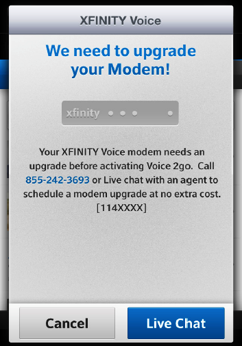 A message on an Xfinity voice screen states that we need to upgrade your modem before voice to go can be activated