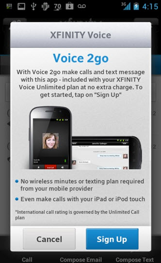 A voice to go sign up screen with buttons marked cancel and sign up is displayed