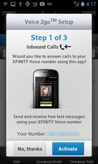 The screen displays step one of three, which has a no thanks button and an activate button for inbound calls