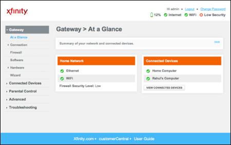 Gateway screen for wireless gateway's Admin Tool