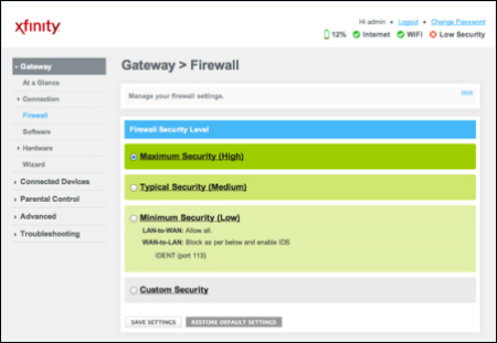 Gateway > Firewall screen of wireless gateway's Admin Tool