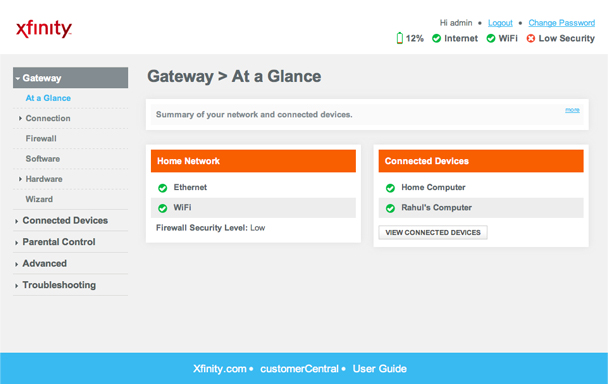 Gateway screen for wireless gateway's Admin Tool