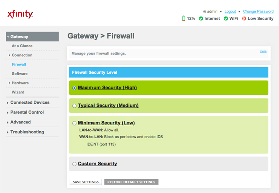 Gateway>Firewall screen of wireless gateway's Admin Tool