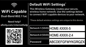 Network SSID and password on the label on the bottom panel of an XFINITY wireless gateway.