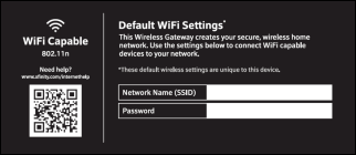 This screen shows Default WiFi Settings. There are 2 windows to enter information in the middle of the screen. The top is Network Name (SSID) and the bottom is Password.