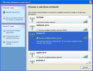 Windows XP - available wirless networks list