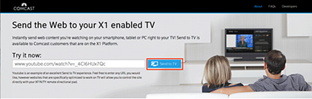 Send to TV web page.  The Send to TV button is in the middle of the page.