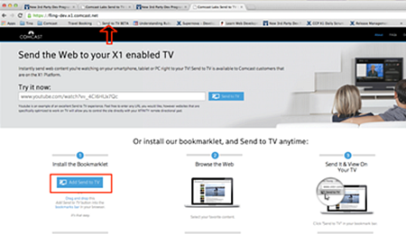 The Send to TV Web page.  The button to be dragged to the Bookmarks bar is in the bottom-left corner of the page.