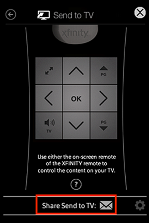 Send to TV web remote screen.  The Share Send to TV button is at the bottom of the window, below the ? button referenced in Steps 4 and 5.