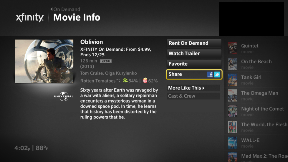 On Demand Movie Information displays with the option to Share to Facebook or Twitter