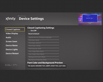 Device settings screen