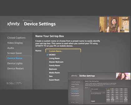 "Device settings page. ""Name your set-top box"" option"