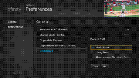 Default DVR options are displayed on the Settings Preferences screen