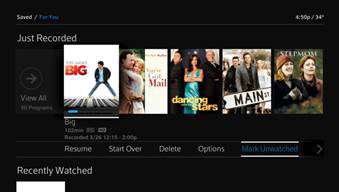 The Mark Unwatched option is selected under content displayed in the Just Recorded row.