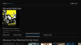 The Mark Unwatched option is selected under content displayed in the Recently Watched row.