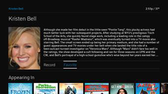 Biographical content about an actress is displayed.