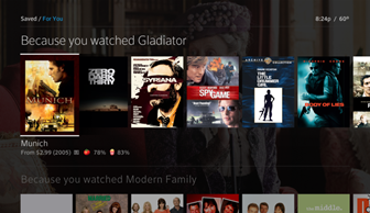 The For You section also features personalized recommendations based on programming you have already watched.