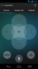 XFINITY X1 Remote app - main remote control navigation screen (Android)
