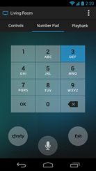 XFINITY X1 Remote app - remote keypad screen (Android)