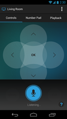 XFINITY X1 Remote app - Voice Controls > Listening screen (Android)