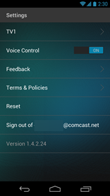 XFINITY X1 Remote app - Settings screen (Android)