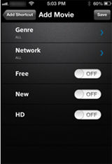 XFINITY X1 Remote app - Add Shortcut > Add Movie screen