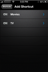 XFINITY X1 Remote app - Add Shortcut screen