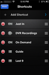 XFINITY X1 Remote app - Add Shortcut screen while deleting shortcuts