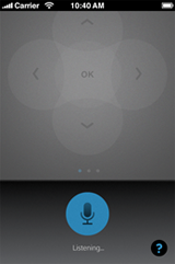 XFINITY X1 Remote app - Voice Controls > Listening screen (Apple iOS)