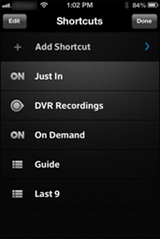 XFINITY X1 Remote app - shortcuts screen