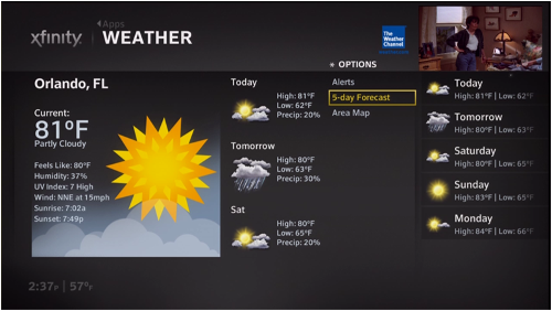 A weather forecast is depicted