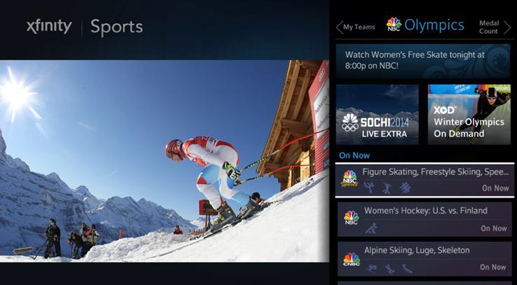 XFINITY Sports app displaying 2014 Sochi Winter Olympics
