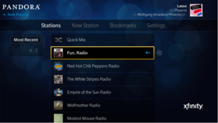 A radio station has been selected for deletion from a list of stations on the Pandora stations screen