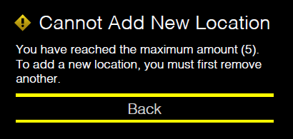 A prompt explains that a new location cannot be added