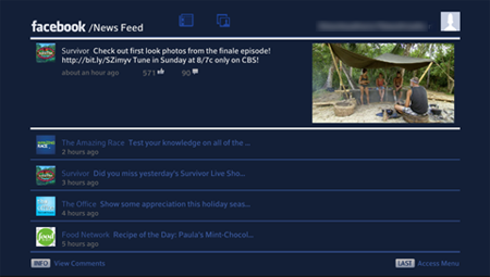 Facebook News Feed screen displays