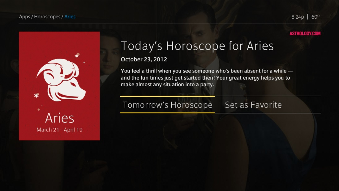 The XFINITY TV on the X1 Platform Horoscope app - example of today's horoscope for Aries.