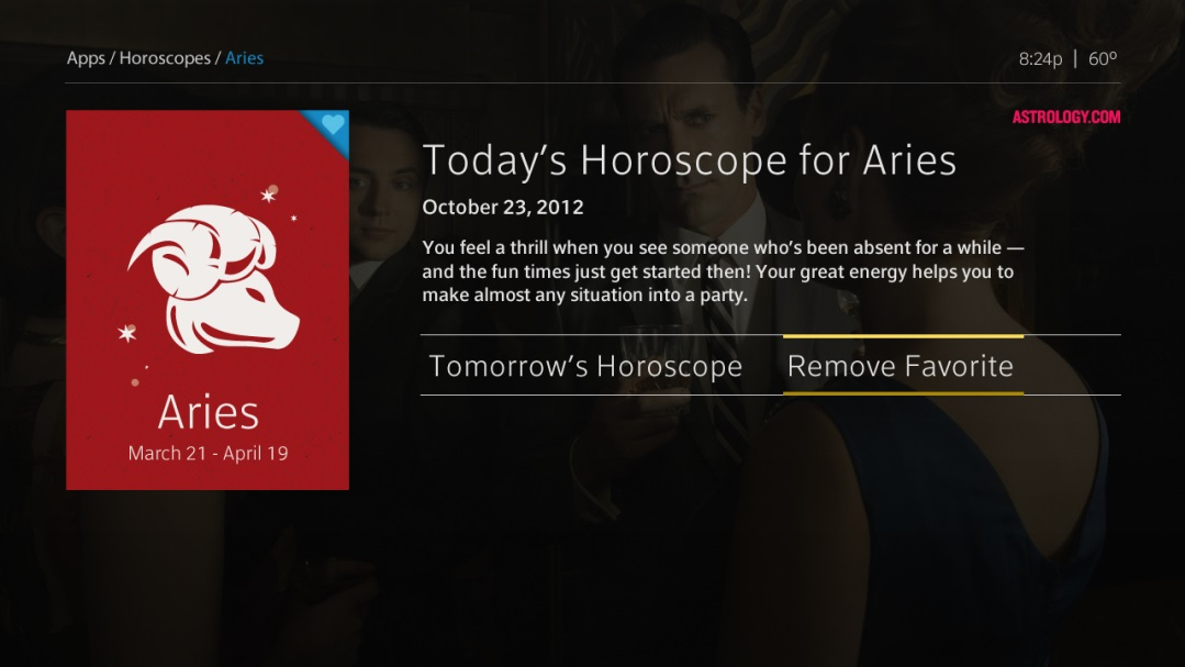 The XFINITY TV on the X1 Platform Horoscope app - example of today's horoscope for Aries, with Aries selected as a Favorite sign.