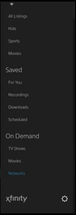 Settings menu displays