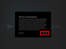 XFINITY TV app sign-in process: terms of activations screen