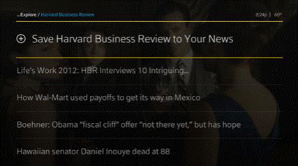 A business news source is selected to be added to the Your News page